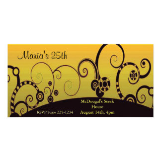 Stylized Swrils on Yellow Personalised Photo Card