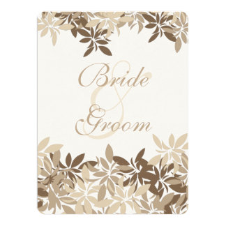 Stylized Tan and Brown Floral Leaves 17 Cm X 22 Cm Invitation Card