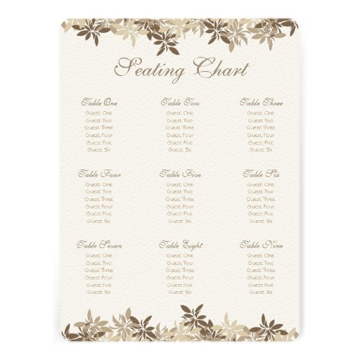Stylized Tan and Brown Floral Leaves Announcements