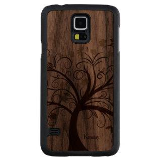 Stylized Tree Wooden Samsung S5 Case Walnut Galaxy S5 Case