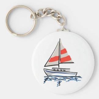 Stylized Tropical Sailboat Key Ring