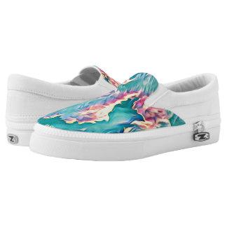 Stylized Turquoise Sky Slip On Shoes