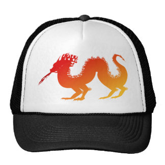 Stylized Vibrant Fire Dragon Spewing Flames Mesh Hat