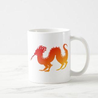 Stylized Vibrant Fire Dragon Spewing Flames Coffee Mug