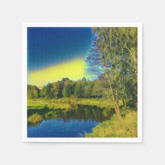 Stylized Yellow Countryside Landscape Paper Napkin