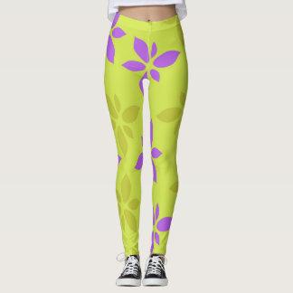 Stylized yellow&purple flowers leggings