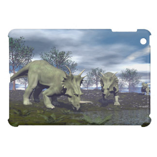 Styracosaurus dinosaurs going to water - 3D render Case For The iPad Mini
