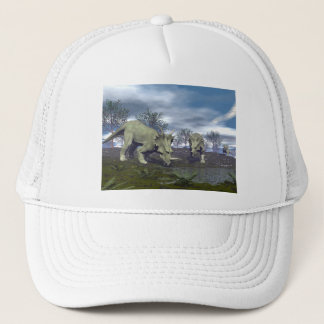 Styracosaurus dinosaurs going to water - 3D render Trucker Hat