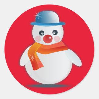 Suave Snowman Round Sticker