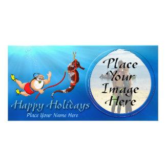 Suba Diving Santa And Seahorse Photo Card