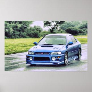 Subaru Impreza racing in the rain Poster