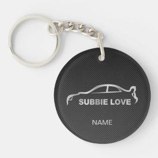 Subaru WRX Impreza STI Silver Silhouette Single-Sided Round Acrylic Key Ring