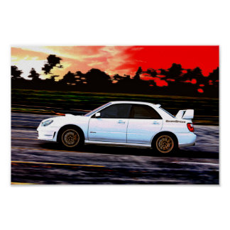 Subaru WRX  STi Racing at Sunset Poster