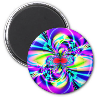 Subatomic Fractal Art 6 Cm Round Magnet