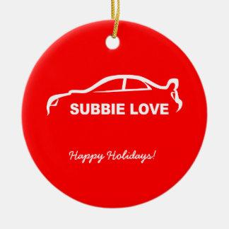 Subbie Love White Silhouette Logo Ceramic Ornament