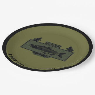 Subdued Alaska Combat Fisherman Badge Paper Plate