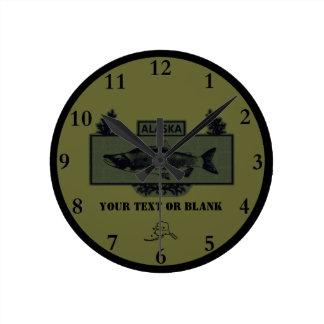 Subdued Alaska Combat Fisherman Badge Round Clock