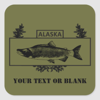 Subdued Alaska Combat Fisherman Badge Square Sticker