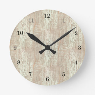 Subdued Coastal Pine Wood Grain Look Round Clock