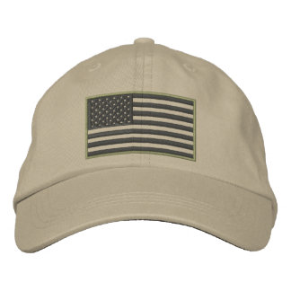 Subdued Colors U.S. Flag Embroidered Hat