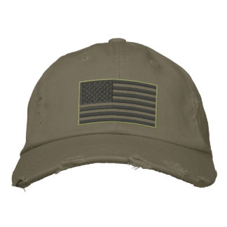 Subdued Colours US Flag Embroidered Hat