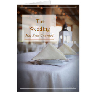 Subdued, Empty Table Wedding Cancellation Card