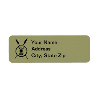 Subdued Maccabee Shield And Spears Return Address Label