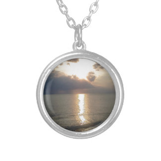 Subdued Sunset 2 Round Pendant Necklace