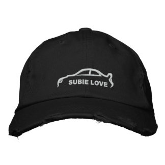Subie Love White Silhouette Embroidered Hat
