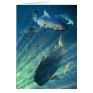 Submarine and Sharks Greeting Card