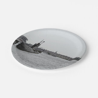 Submarine at a port paper plate