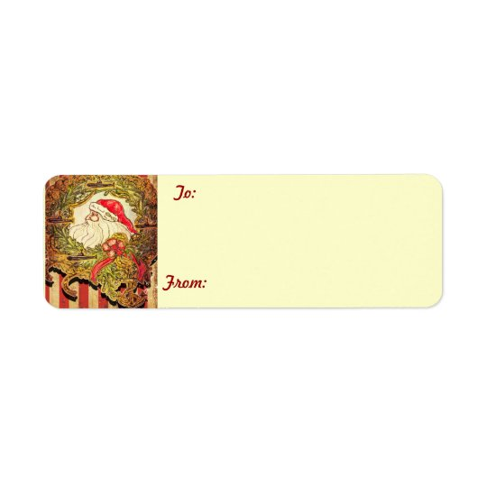 Submarine Santa gift tags Return Address Label