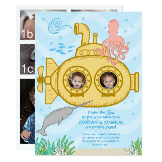 Submarine & Sea - Twins 2nd Birthday Invitation
