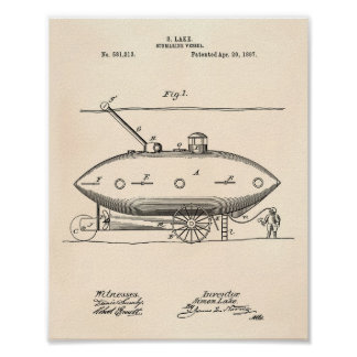 Submarine Vessel 1897 Patent Art Old Peper Poster