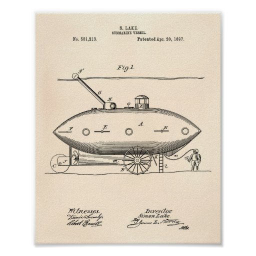 Submarine Vessel 1897 Patent Art Old Peper Poster