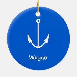 Submarine Your Text Anchor Ceramic Ornament