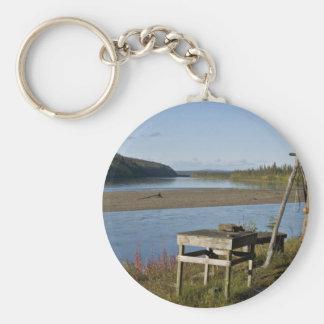 Subsistence fish camp on the Koyukuk River Basic Round Button Key Ring