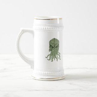 Subterranean Sea Monster Head Drawing Beer Stein