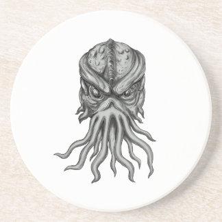 Subterranean Sea Monster Head Tattoo Coaster