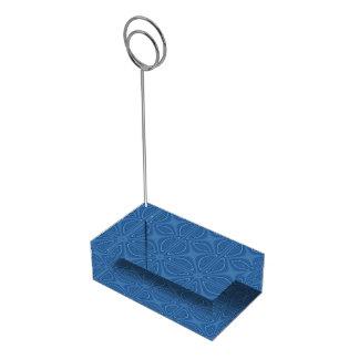 Subtle Blue Crisscross Geometric Pattern Table Card Holder