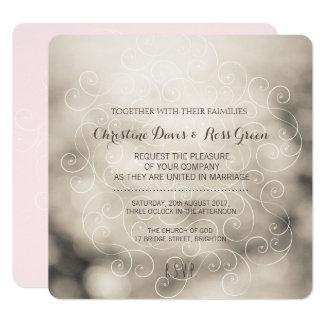 Subtle bokeh, beige and pink wedding invitation