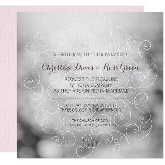 Subtle bokeh, gray and pink wedding invitation