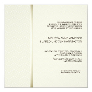 Subtle Chevron Ecru on Ivory Modern Affordable 13 Cm X 13 Cm Square Invitation Card