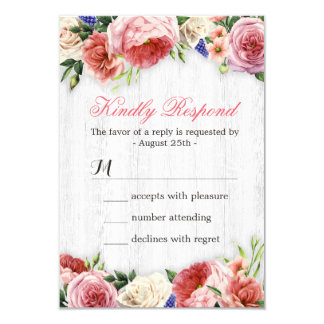 Subtle Chic Rustic Roses Floral Wood RSVP Reply 9 Cm X 13 Cm Invitation Card