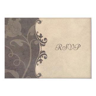 Subtle Earthen Tones Floral Wedding RSVP 9 Cm X 13 Cm Invitation Card