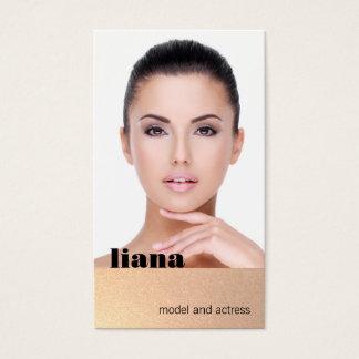 Subtle Gold Glitter Modeling Photocard Business Card