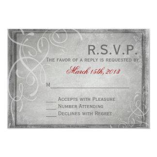 Subtle Grey Elegance - RSVP Card 9 Cm X 13 Cm Invitation Card