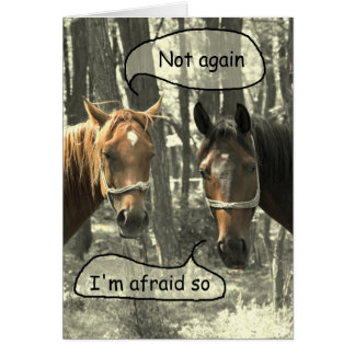 Subtle Humour Horses Talking Birthday Card