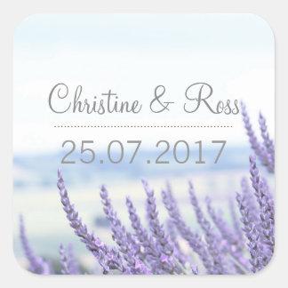 Subtle lavender, floral, wedding invitation set square sticker
