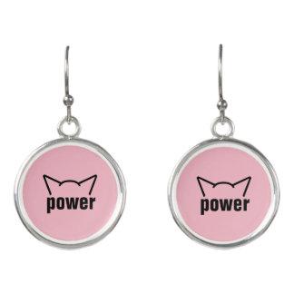 Subtle Pussy Power Cat Ears Pink Resistance Women Earrings